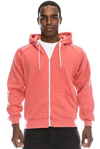 62a8a5326c8 JC DISTRO Plus Size Mens Hip Hop Basic Unisex Zip-Up Hoodie Jacket Melange  Pink 4XL