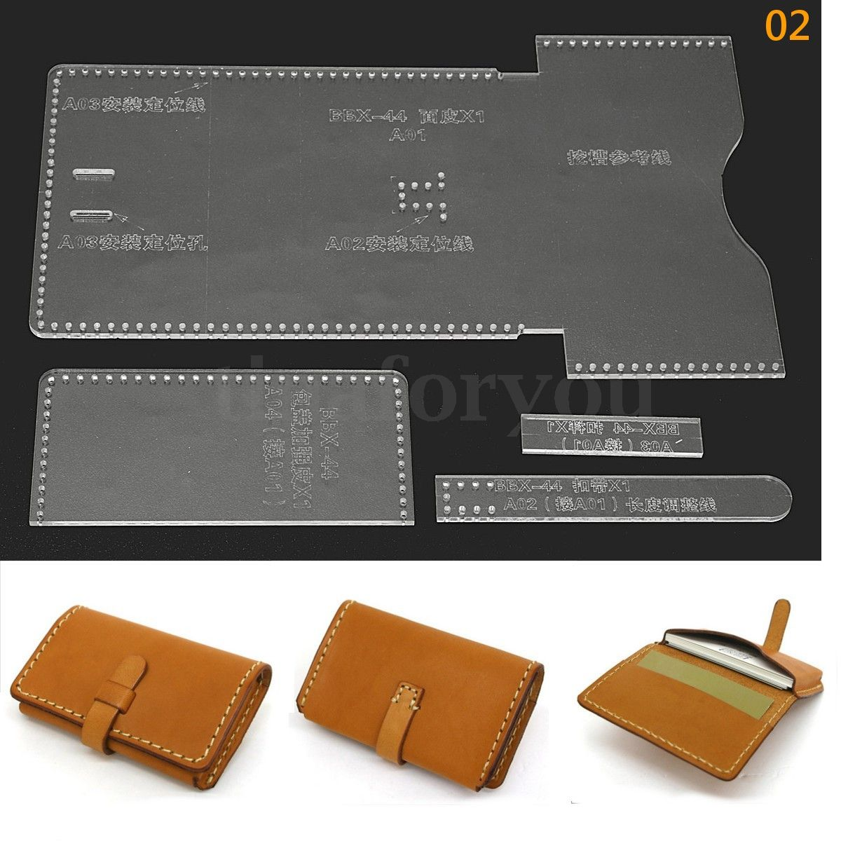 Details about 8 Types DIY Acrylic Leather Template Kit for Wallet ...