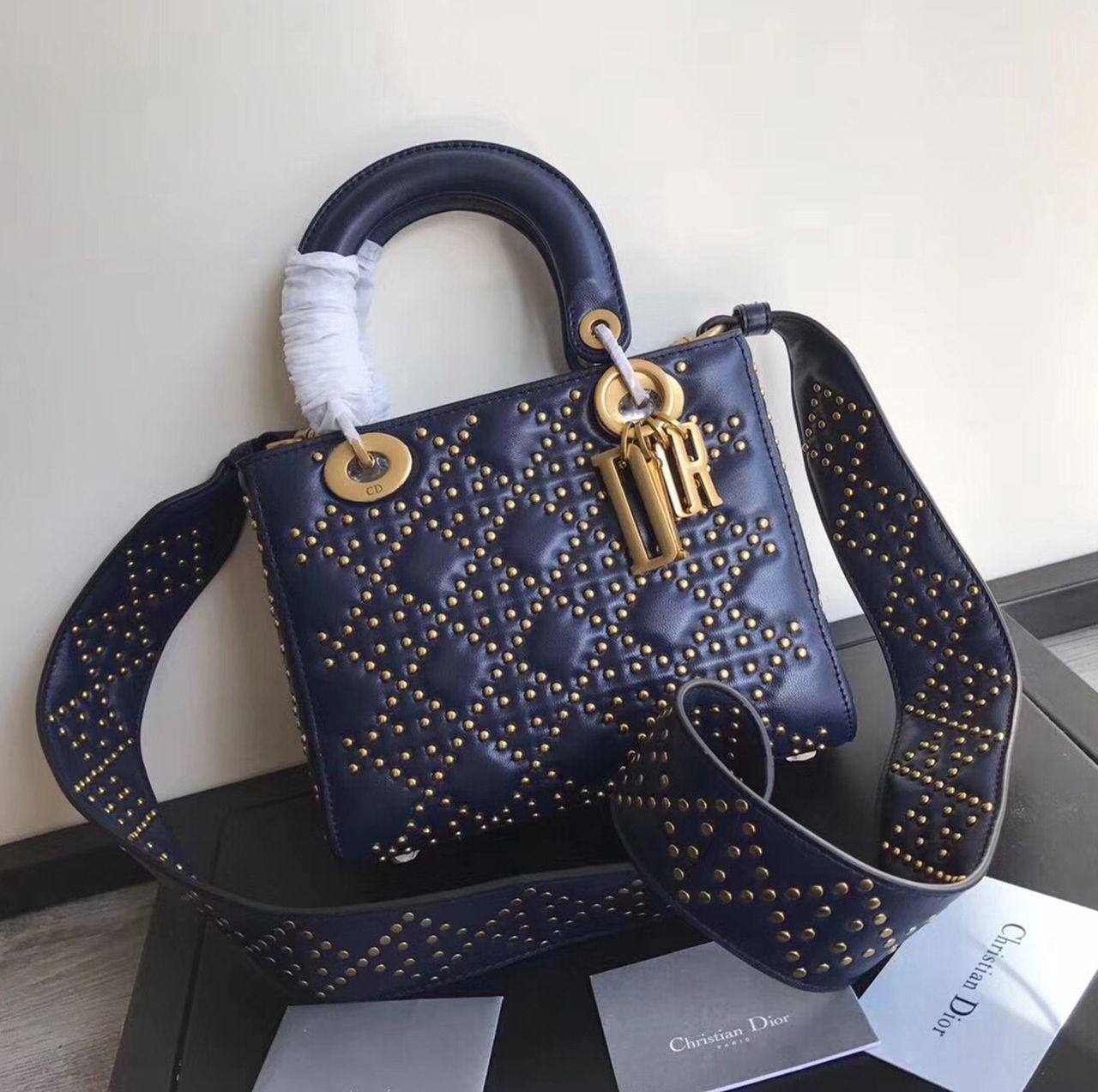 ea72bdfabfa0 Dior Supple Lady Dior Medium Bag in Studded Lambskin Deep Blue 2017 ...