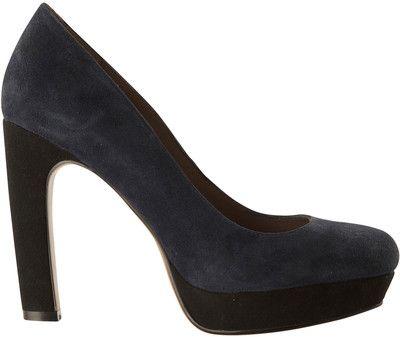 Lola Cruz Navy Suede Platform Shoes