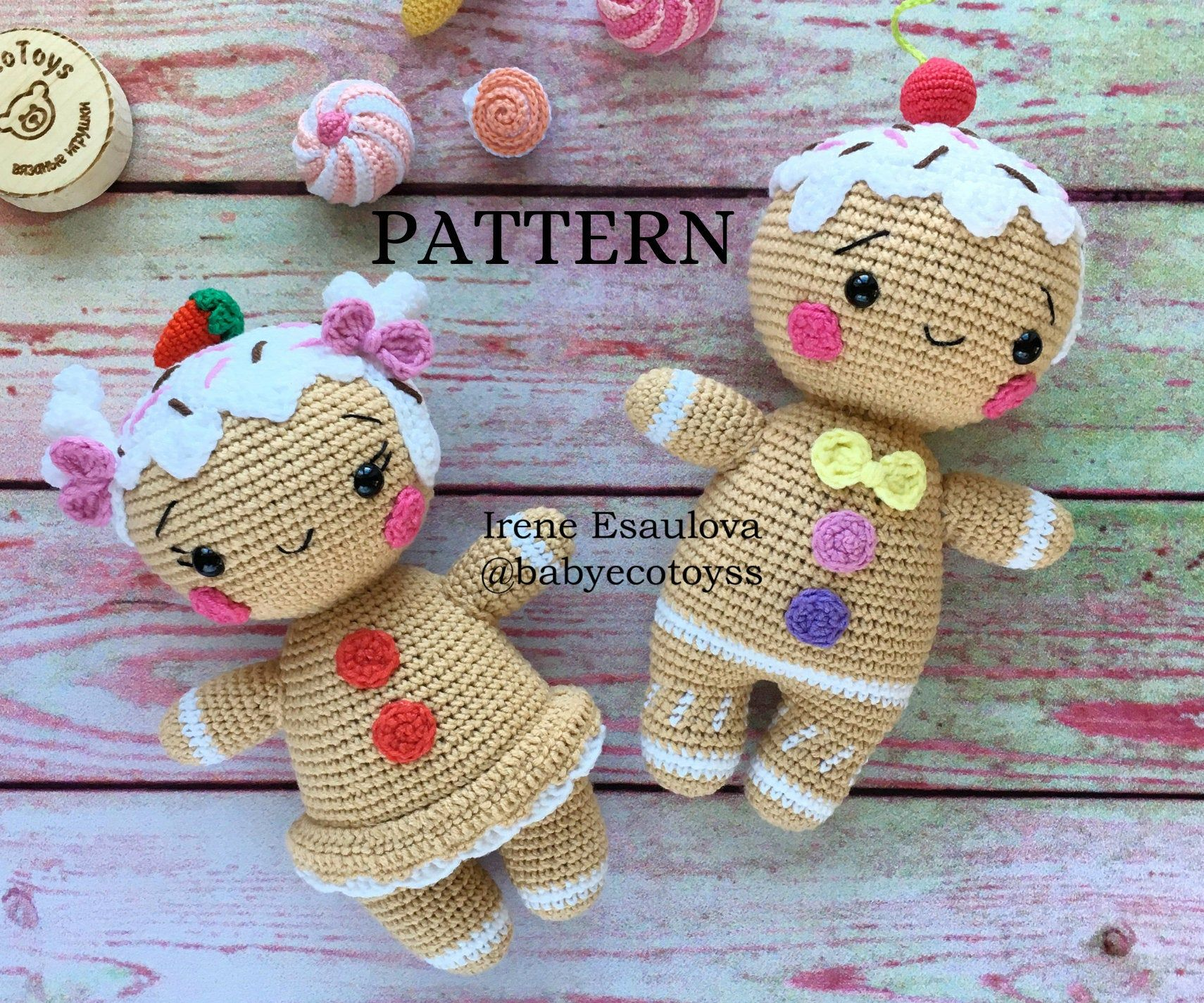 Amigurumi pattern crochet pattern toy pdf gingerbread