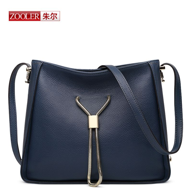 Zooler New Famous Brand Women Leather Handbags Whole Cowhide Brief Design Blue Tote Bag Fashion Shoulder Bc 8132