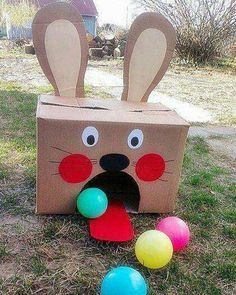Pin by estefana gonzlez on decoracin de aula pinterest easter easter bunny bowling fun game for kids made from a cardboard box solutioingenieria Images