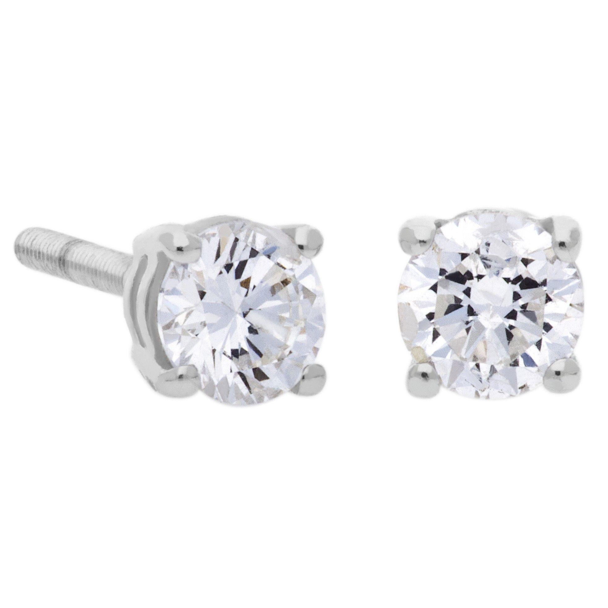 fd3f2ca493f55 9ct White Gold 0.20ct Four Claw Diamond Earrings SKE2534-20 ...