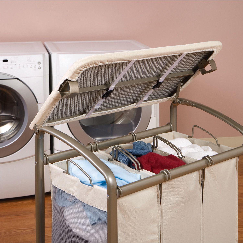 - Seville Classics 3 Bag Laundry Sorter With Folding Table Laundry