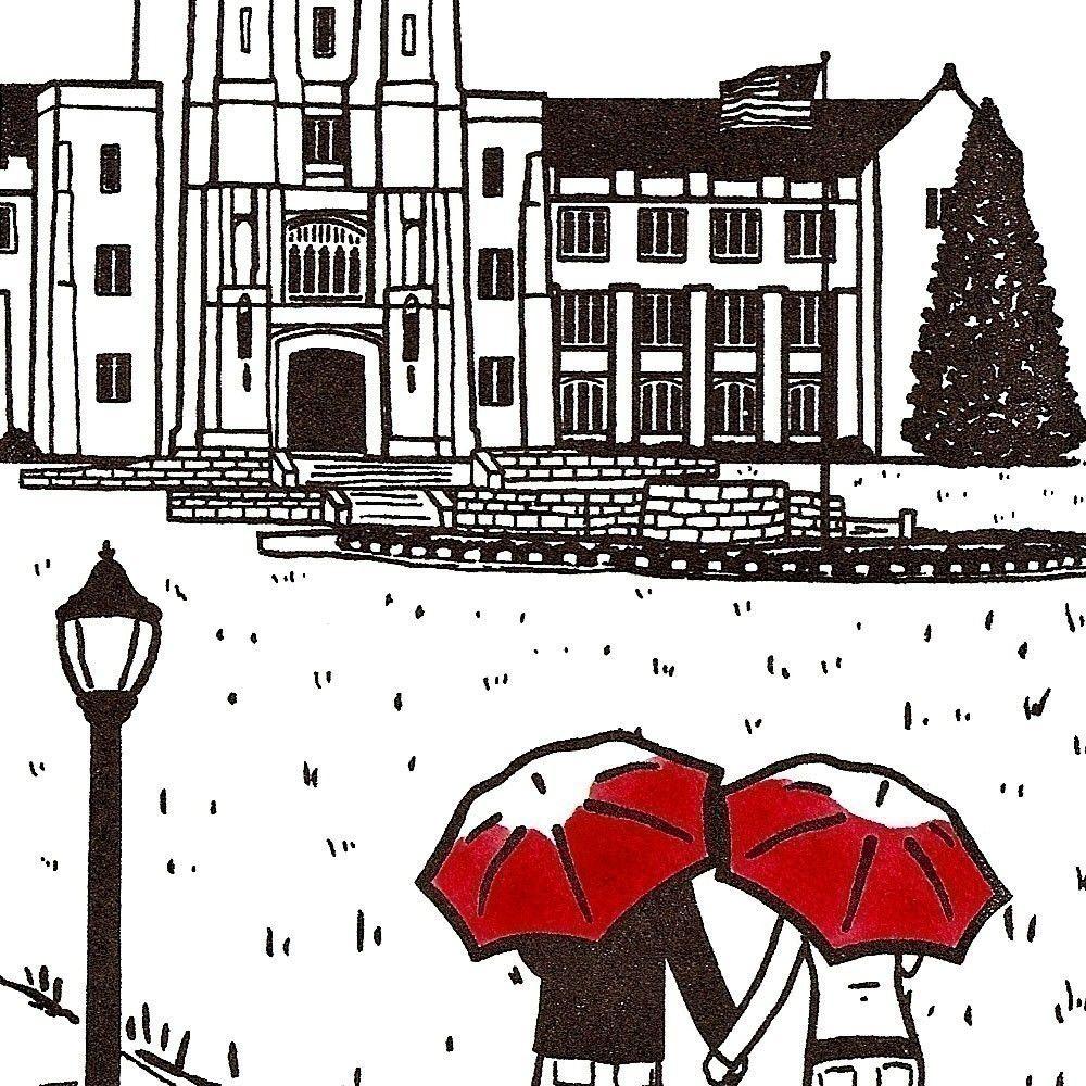 Hokie Love Art prints, Virginia tech, Red umbrella