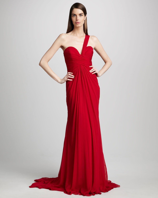 Pamella Roland One-Shoulder Gown - Neiman Marcus | Evening Gowns ...