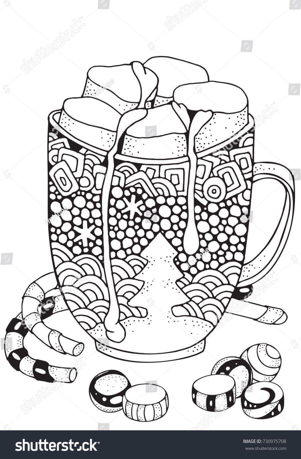 Christmas Mug With Hot Chocolate And Marshmallow Christmas