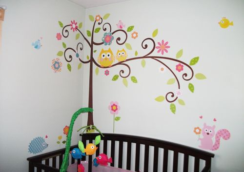 Central has a simple and affordable way for you to style your nursery: RoomMates (pictured here in Scroll Tree)! They're removable, repositionable, and reusable. Simply peel and stick; the special adhesive is strong enough to keep your décor on the wall, but delicate enough to allow endless repositioning without damaging the paint or leaving behind a sticky residue. They offer peel and stick borders and mirrors, plus pre-pasted murals, borders, and wallpapers. #babysroom #walldecal