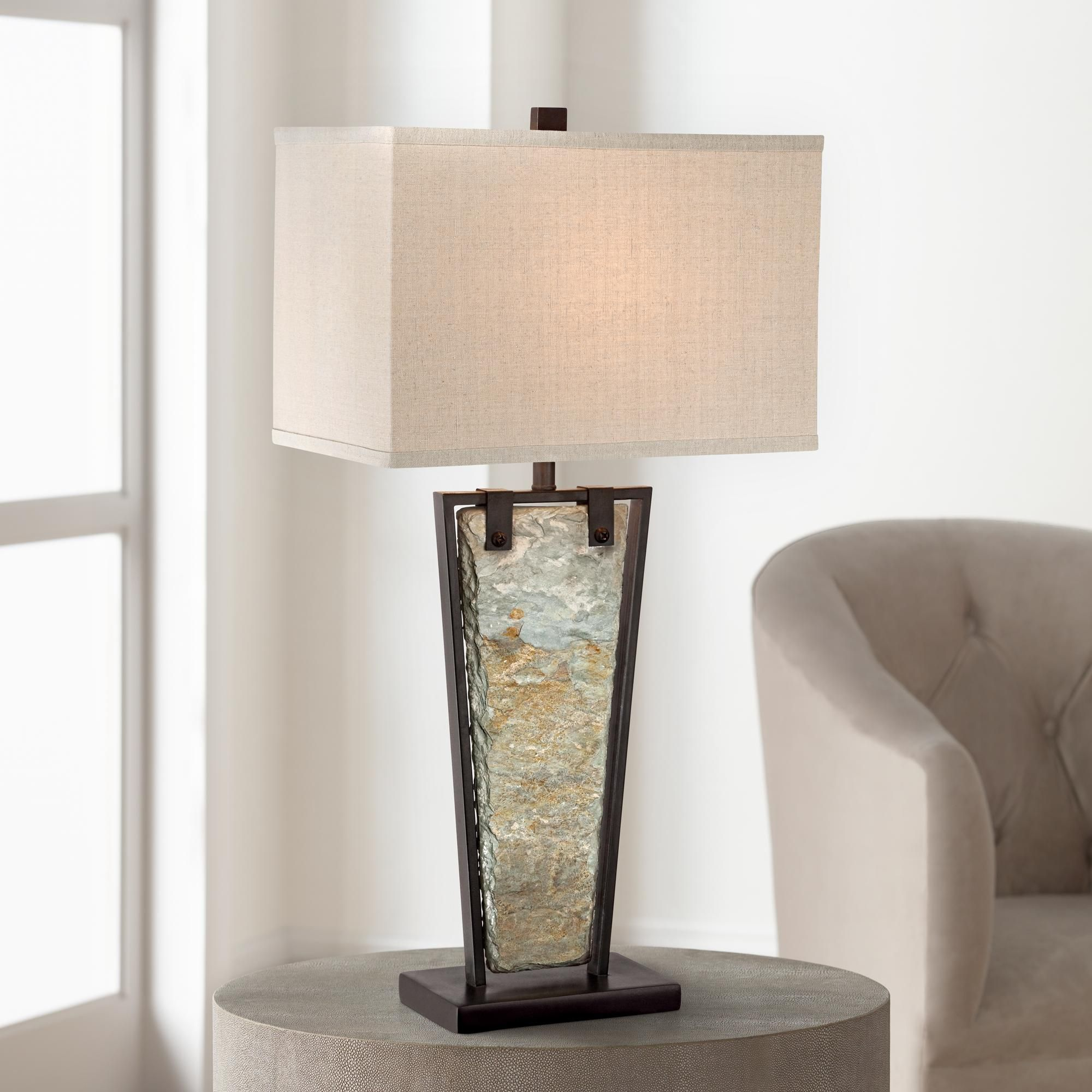 Zion Tapered Slate Table Lamp By Franklin Iron Works Table Lamp