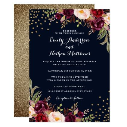 Burgundy gold confetti floral wedding invitation convites burgundy gold confetti floral wedding invitation wedding invitations cards custom invitation card design marriage party stopboris Images