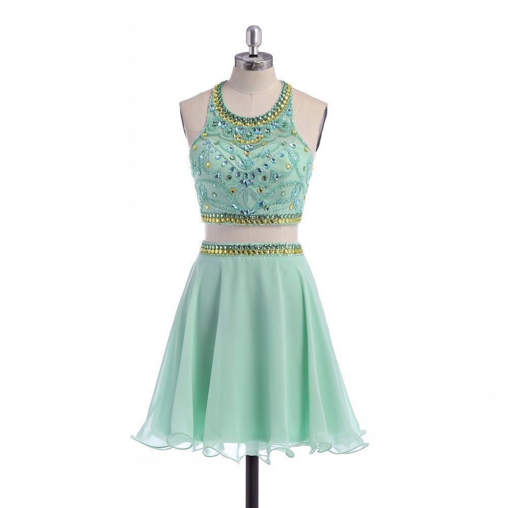 Chiffon simple lime green homecoming dresses beaded scoop piece