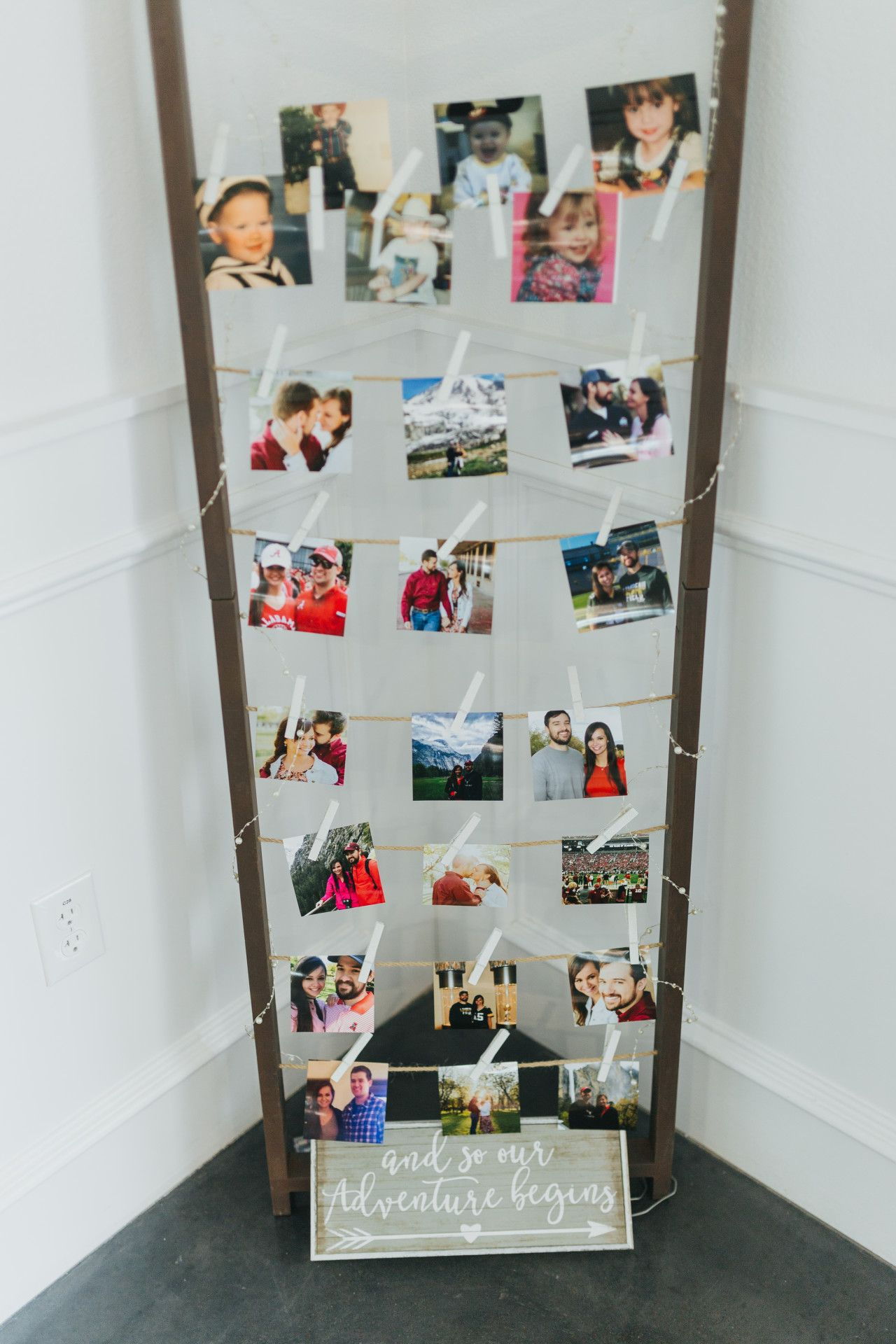 Diy wedding idea clothespin photo strands diy wedding