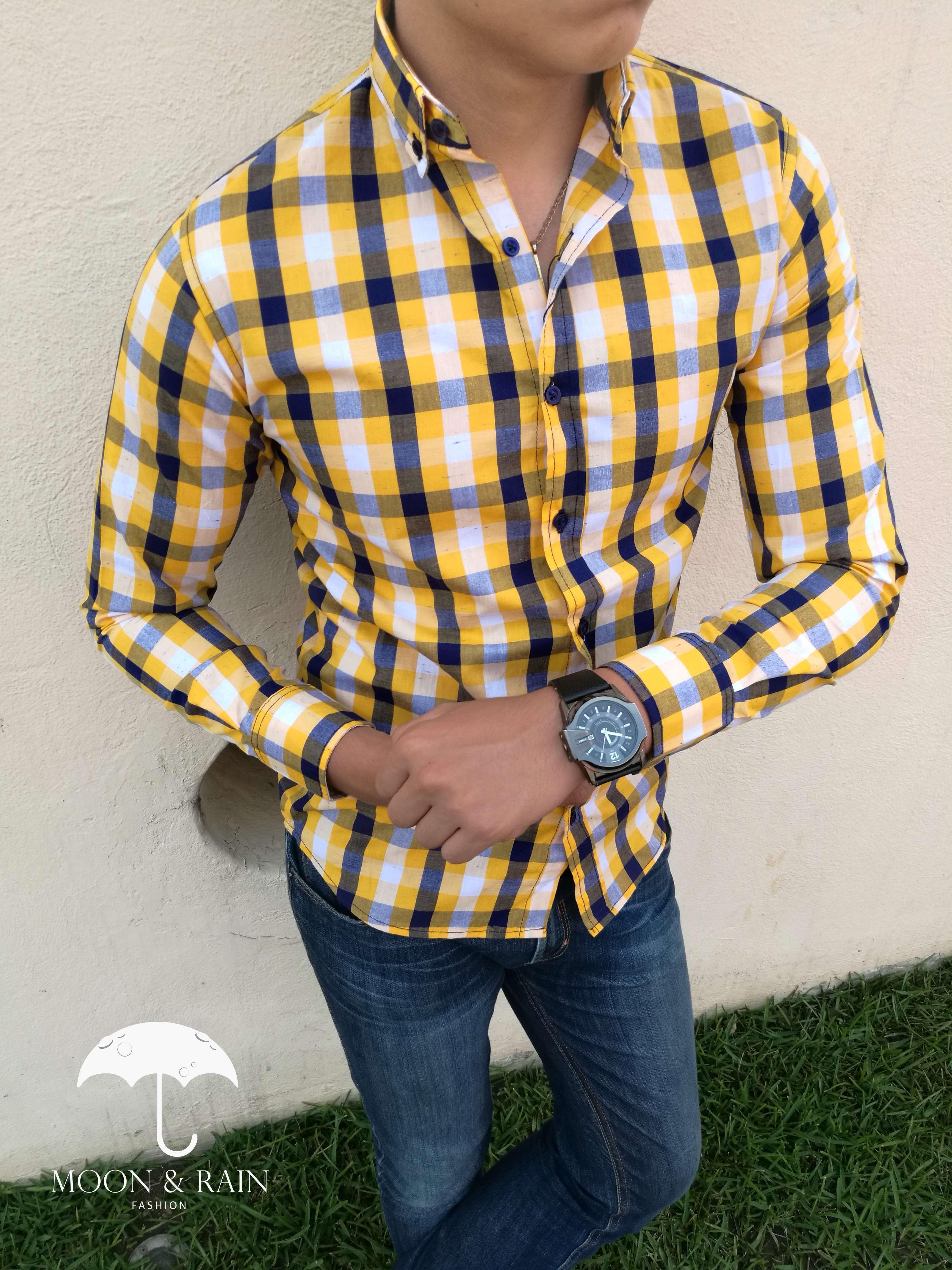 821d742835 Camisa de cuadros amarillos para hombre de moda por Moon   Rain Fashion