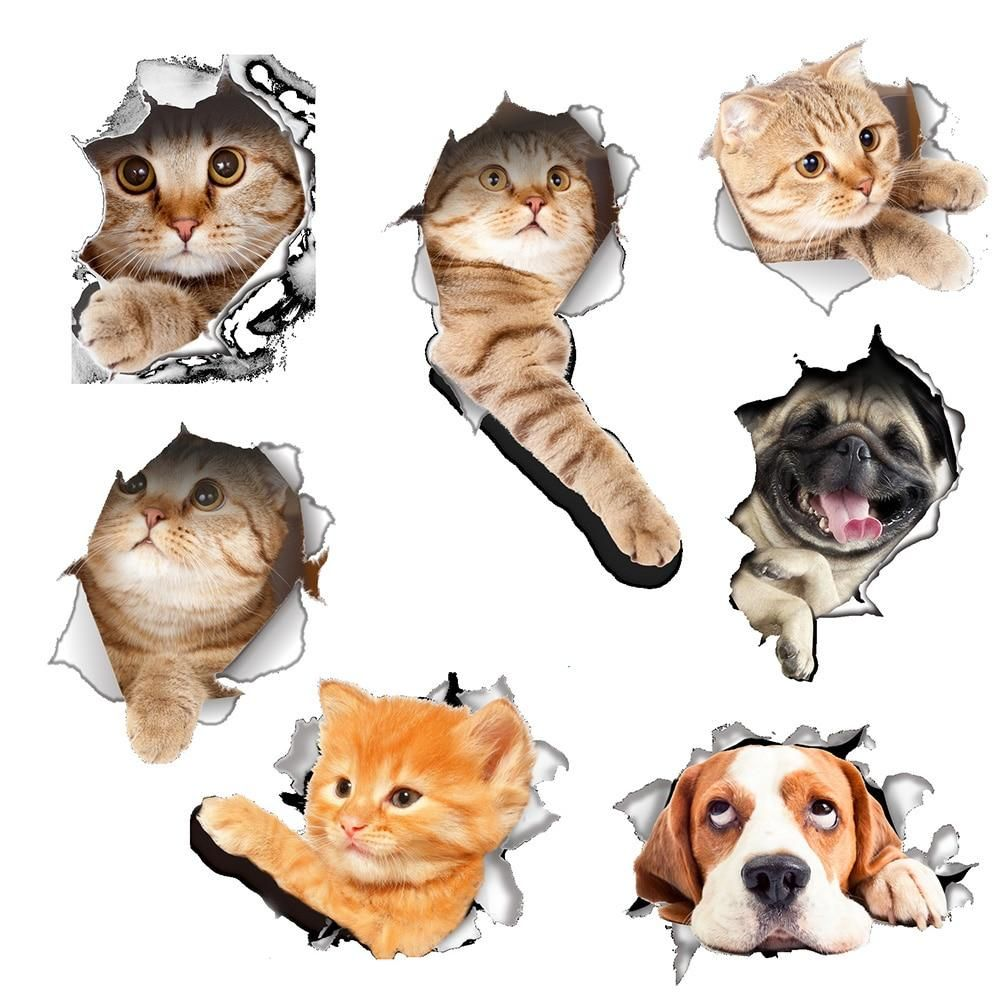 Fashion 3d Cartoon Cat Dog For Living Room Bedroom Kitchen Bathroom Decorations Wall Stickers Animal Posters Wall Stickers Kids