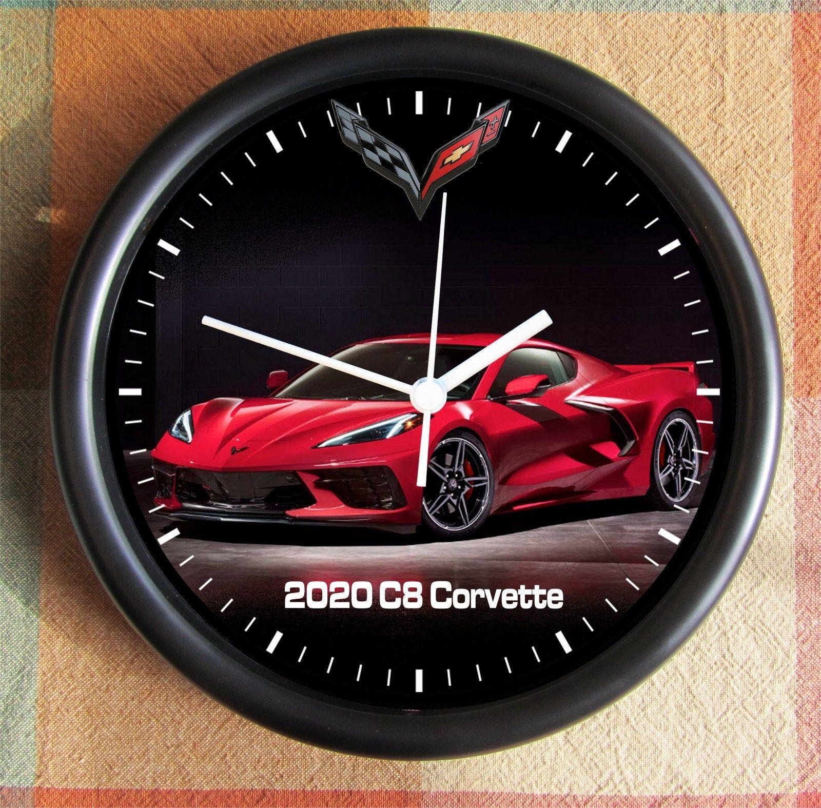 2020 Corvette C8 With Logo Big 10 Inch Black Wall Clock Ships Etsy Black Wall Clock Clock Unique Clocks