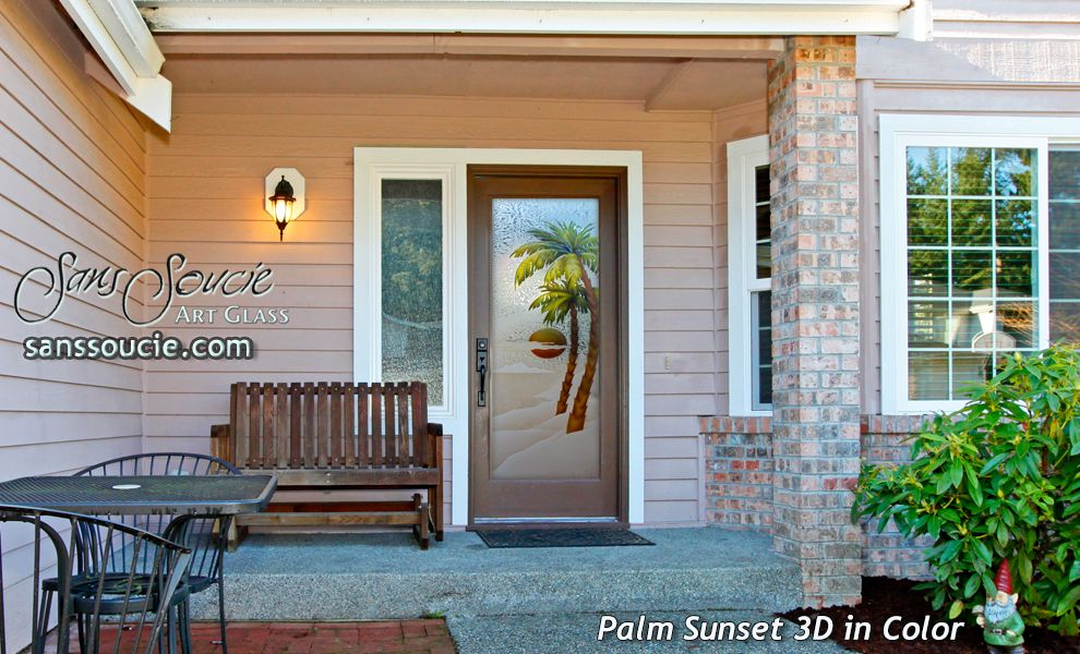Palm Sunset 3d Painted Gluechip Glass Entry Doors Glass Front
