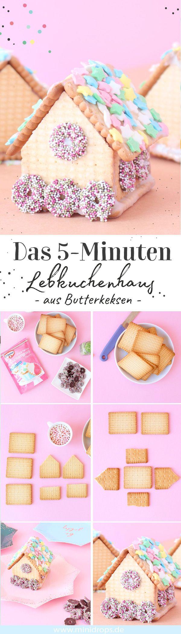 Lebkuchenhaus aus Butterkeksen ganz einfach machen • Minidrops