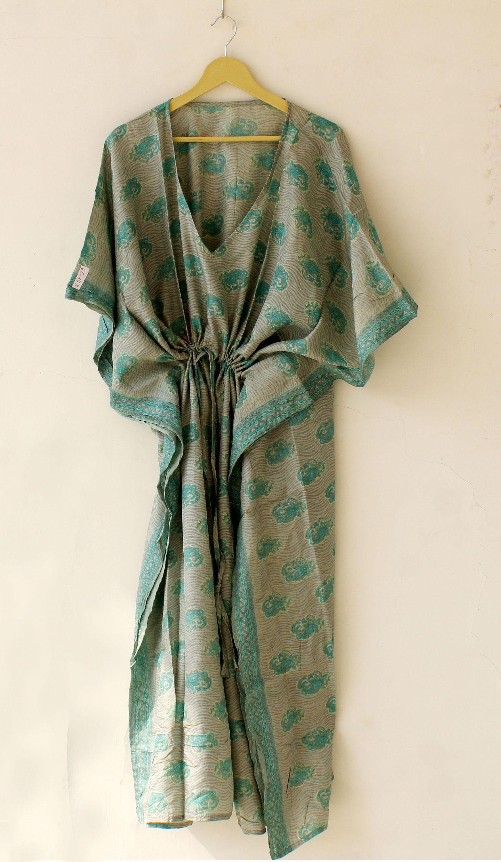 Indian Vintage Silk Sari Kaftan Floral Print SIlk Bathrobe Handmade Long Women/'S Night Wear Gown
