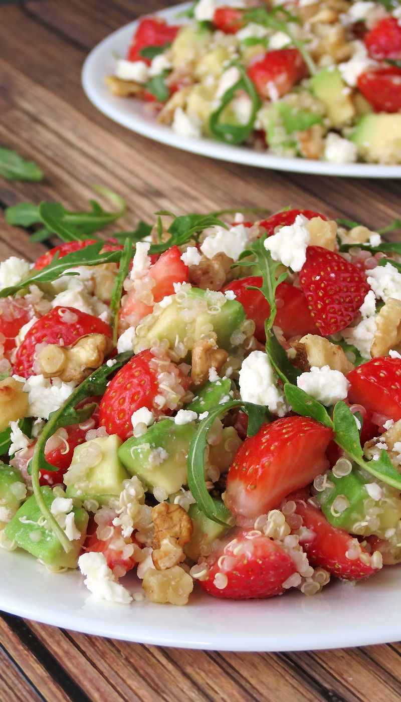 Try this fresh & easy Quinoa Strawberry Avocado Salad dressed with honey and lime dressing. This is a perfect summertime salad!