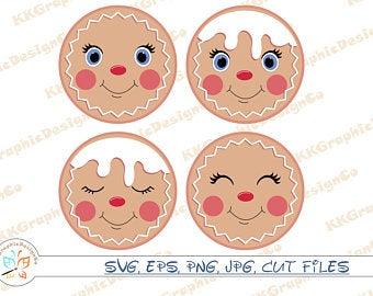 Gingerbread face svg Cute gingerbread svg Gingerbread svg