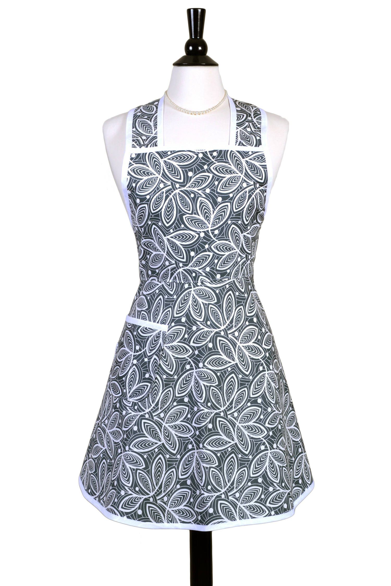 Womens Vintage Apron with Pocket in Gray Leaves 50s Retro Kitchen