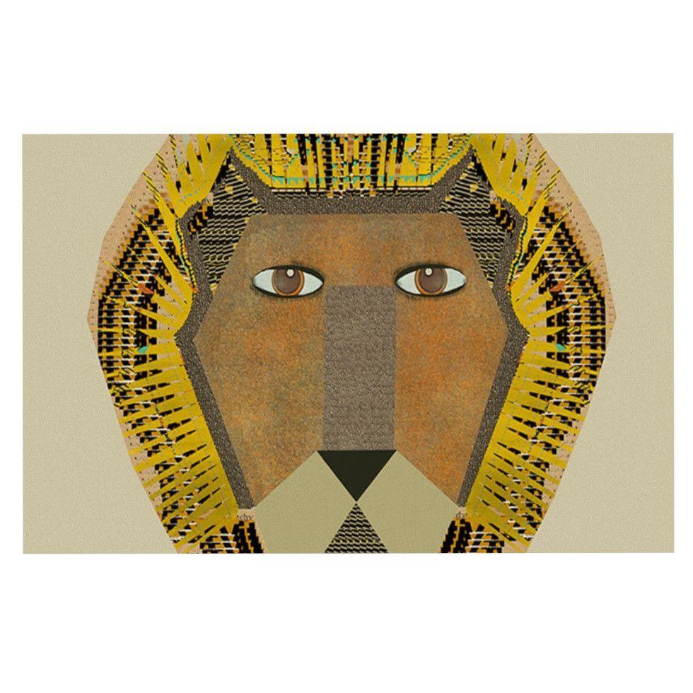 """Bri Buckley """"Lion"""" Yellow Orange Decorative Door Mat"""