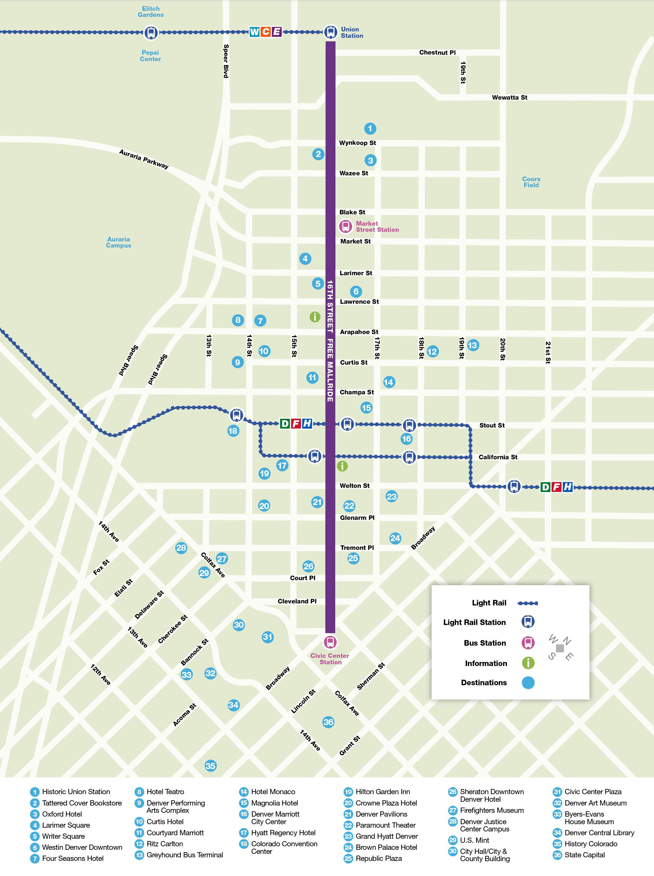 Rtd 16th Street Free Mallride Route Map Route Map Light Rail