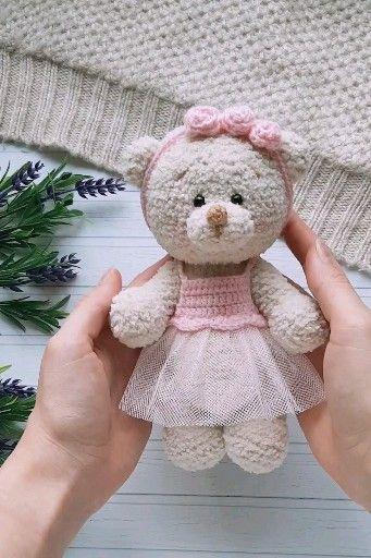 Photo of Crochet pattern amigurumi bear in a dress