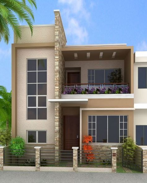 Fachadas para casas de 6 metros frente facades for Colores de casas modernas por fuera