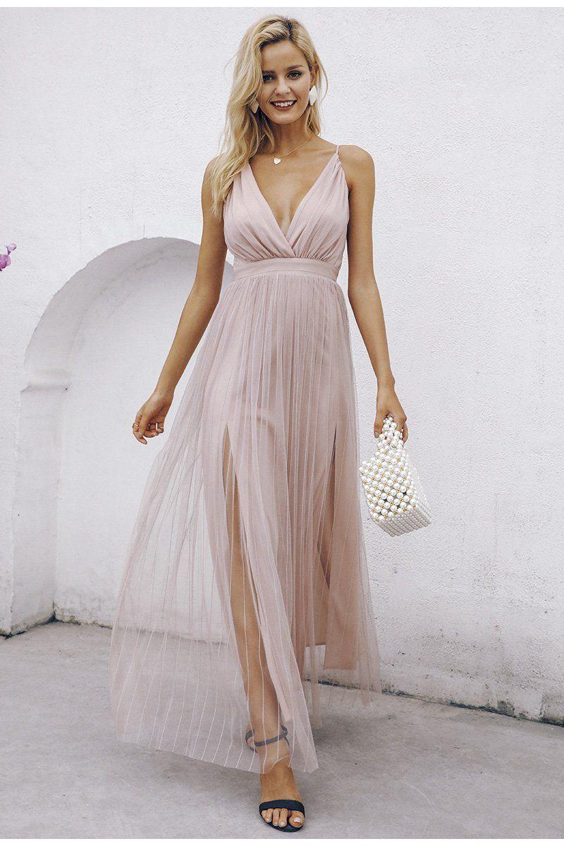 Luftiges Party Kleid mit Spaghettiträger & Rückenfrei in Pink