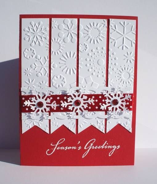 simple elegant homemade christmas cards Embossed squares - christmas card layout