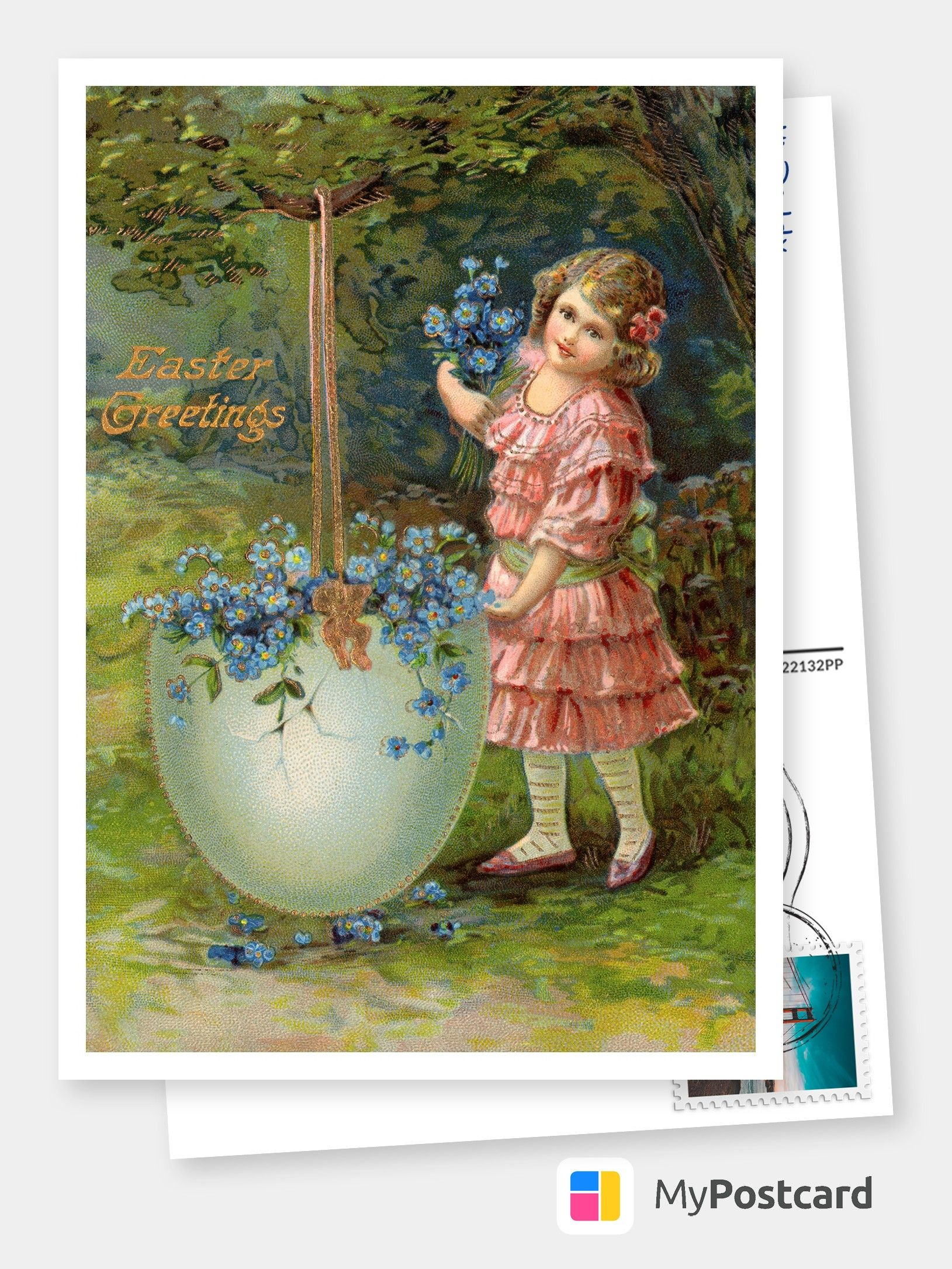 Victorian Easter Greetings Girl In The Garden Happy Easter