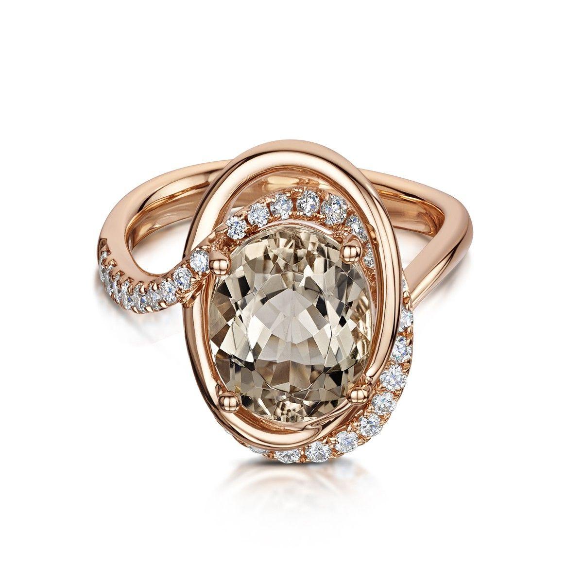 Rose Gold Morganite & Diamond Cluster Ring - Rings - Jewellery - Parkhouse…