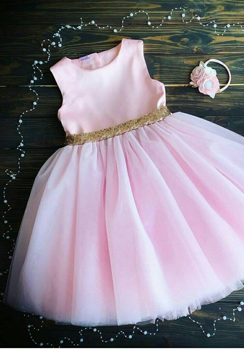 Luxury pink dress Girl First Birthday Outfit Baby