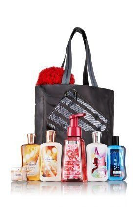 """Bath & Body Works VIP Tote with Cashmere Glow, Paris Men, Paris Amour, Pink Champagne, and Cranberry Pear Bellini Products by Bath & Body Works. $34.95. Over $100 Value. Makes a great gift or keep it for yourself. Tote measures 14 3/4"""" H x 15"""" W. This Holiday VIP Tote is packed with 7 very impressive products in our favorites for body, hands and home. Includes our Signature Collection Shower Gel (10 oz) and Body Lotion (8 oz) and a Paris for Men 2-in-1 Hair + ..."""
