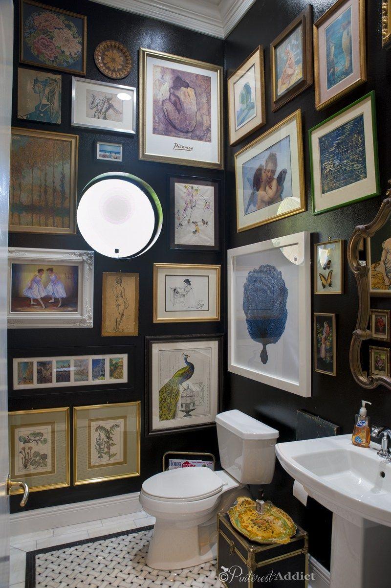 black bathroom, black walls, black cabinets, powder room ...