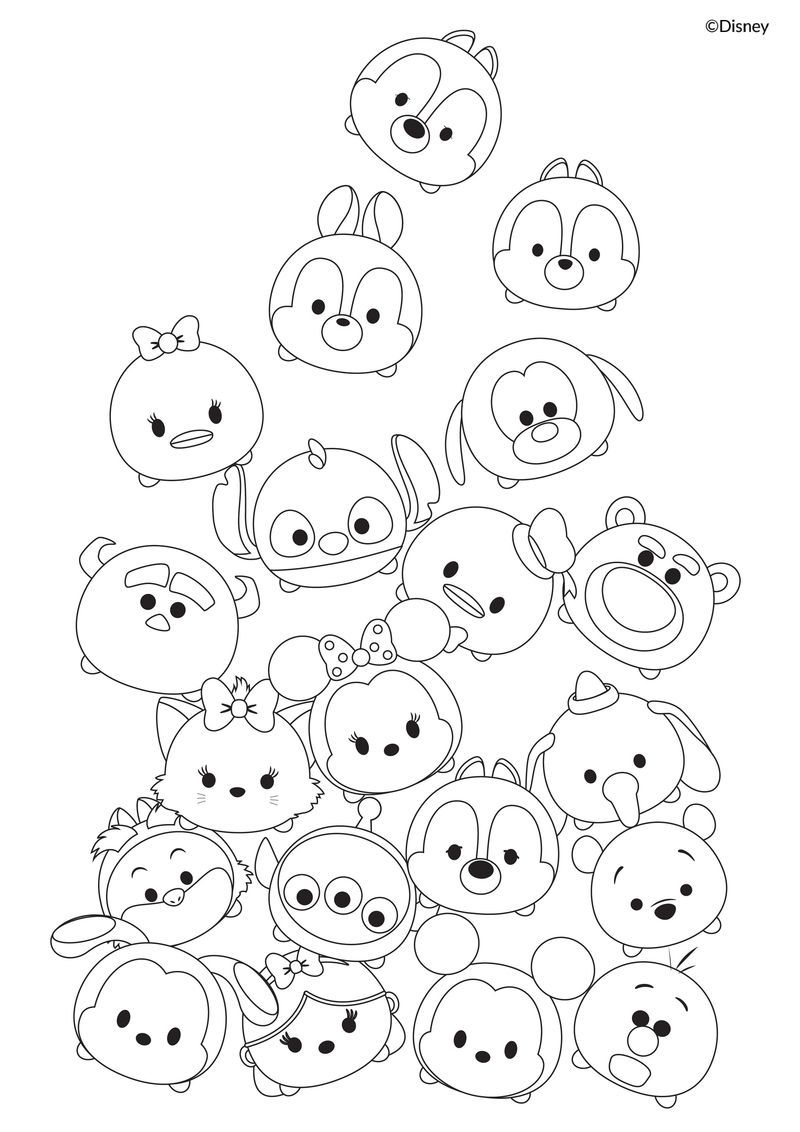 Cute Tsum Tsum Coloring Pages PDF - Coloringfolder.com  Tsum tsum
