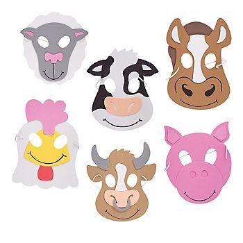 Farm Animal Foam Masks Pkg 12 With Images Animal Masks For