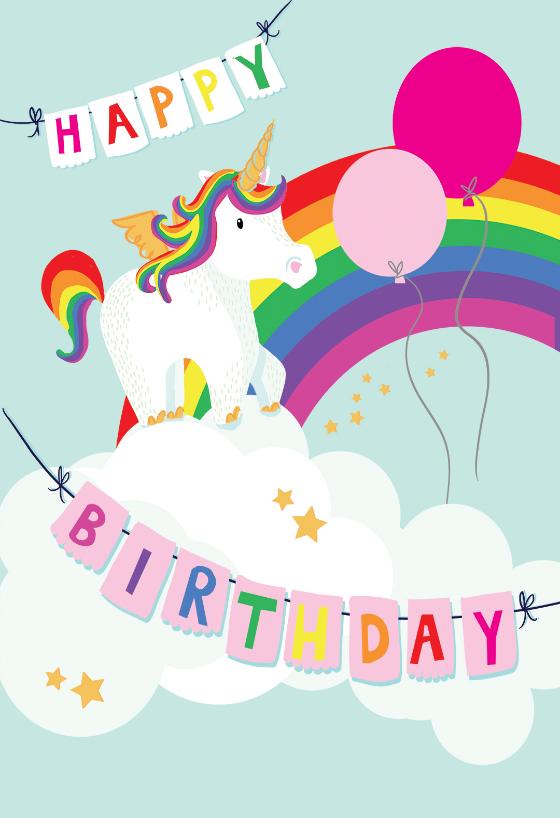 Merry Unicorn Birthday Card Greetings Island Unicorn Birthday Cards Cool Birthday Cards Kids Birthday Cards