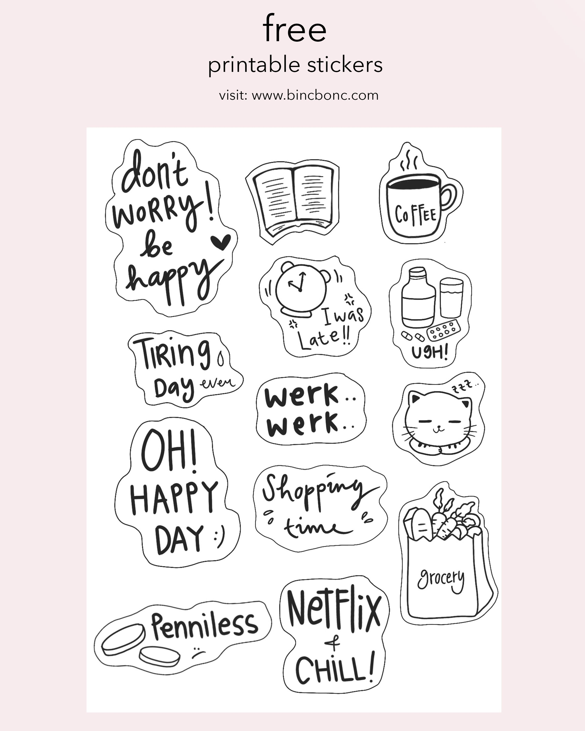 Daily Life Stickers Printable stickers, Free printable