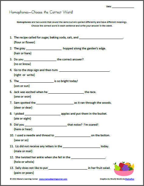 homophones choose the correct word worksheets printables for pre k to second grade 6th. Black Bedroom Furniture Sets. Home Design Ideas