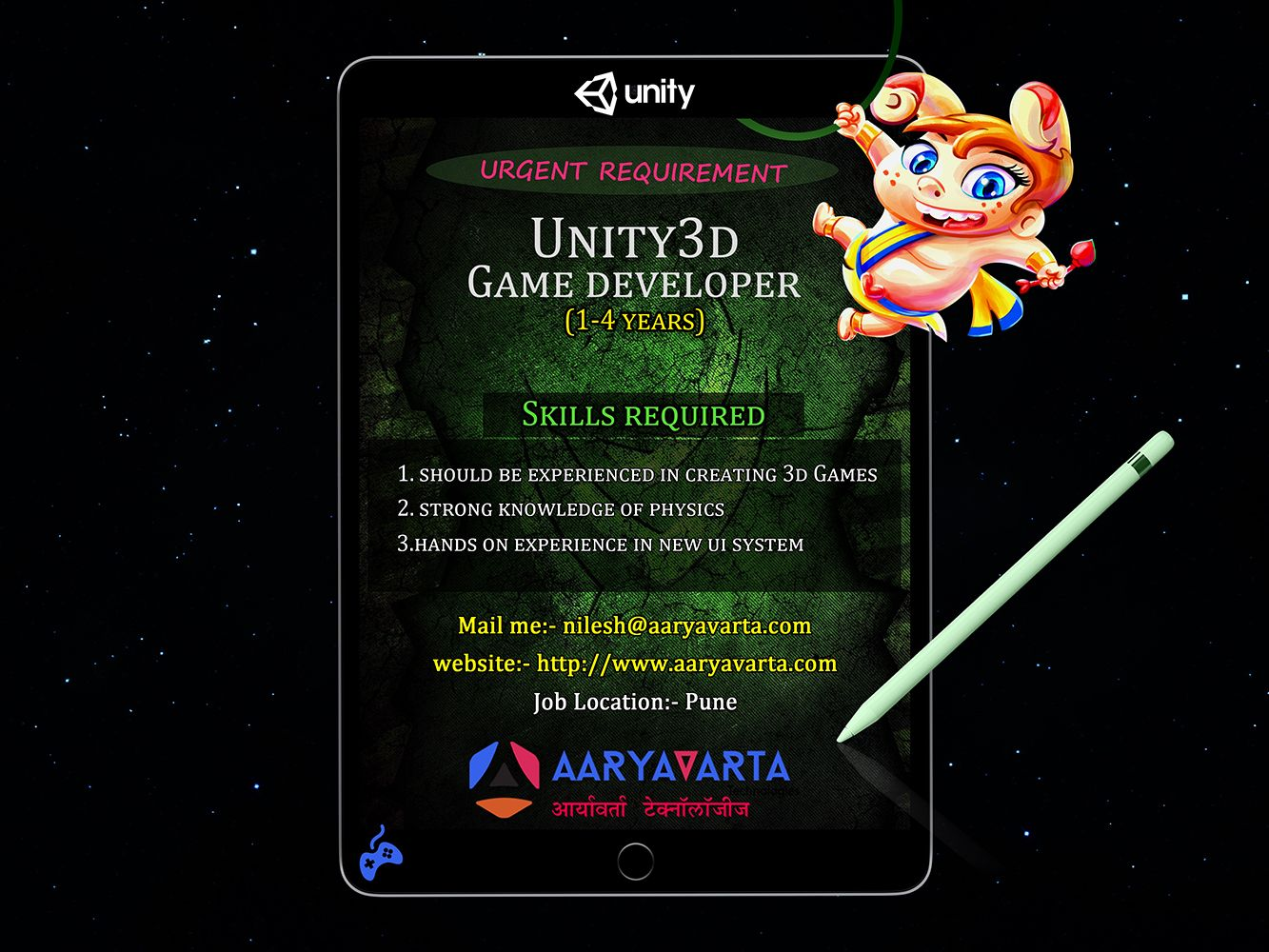 Unity3d Game Development Jobs In India Pune Need A Game