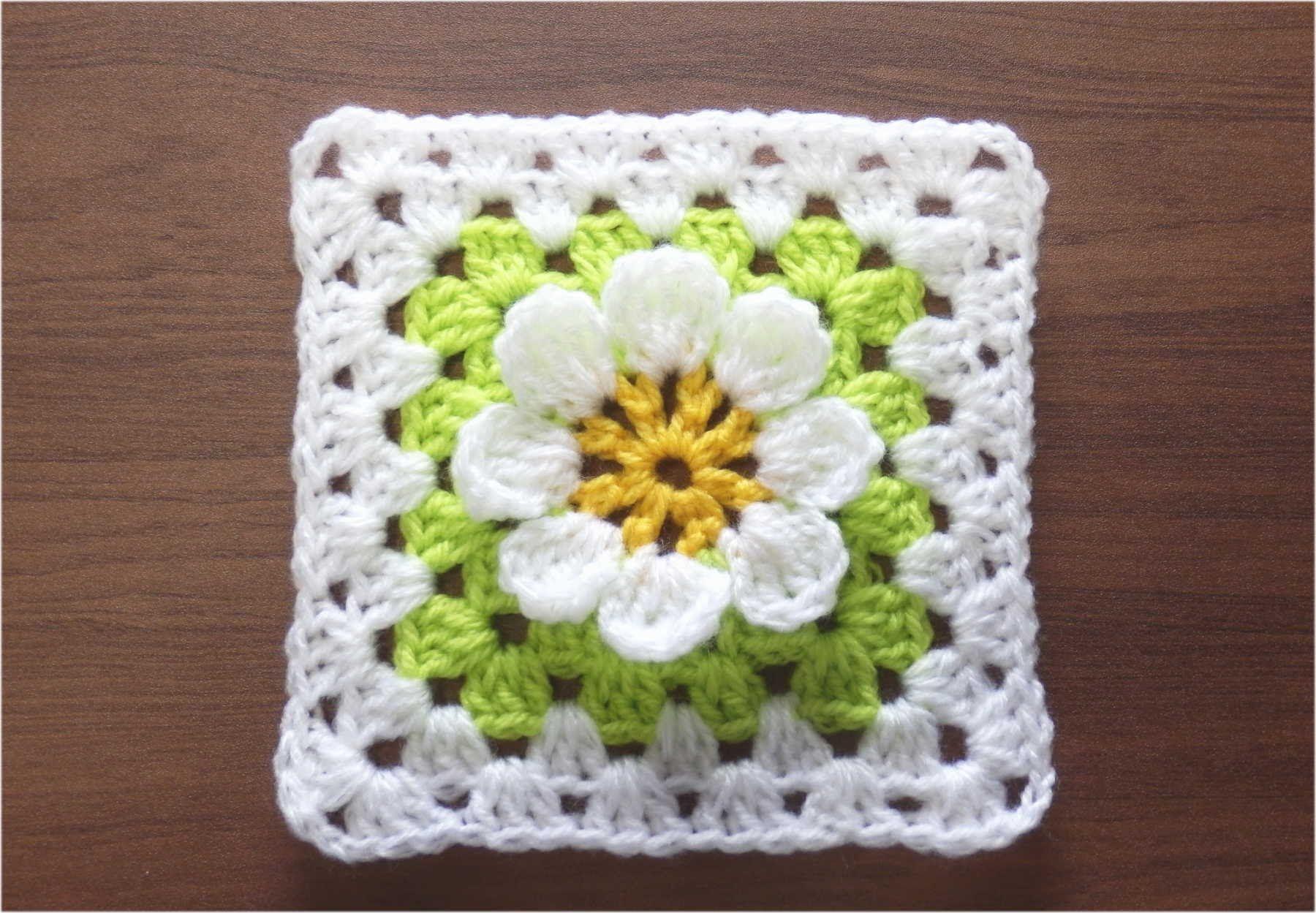 かぎ針編みの四角モチーフ 6 (3Dフラワー) How to Crochet Motif ...
