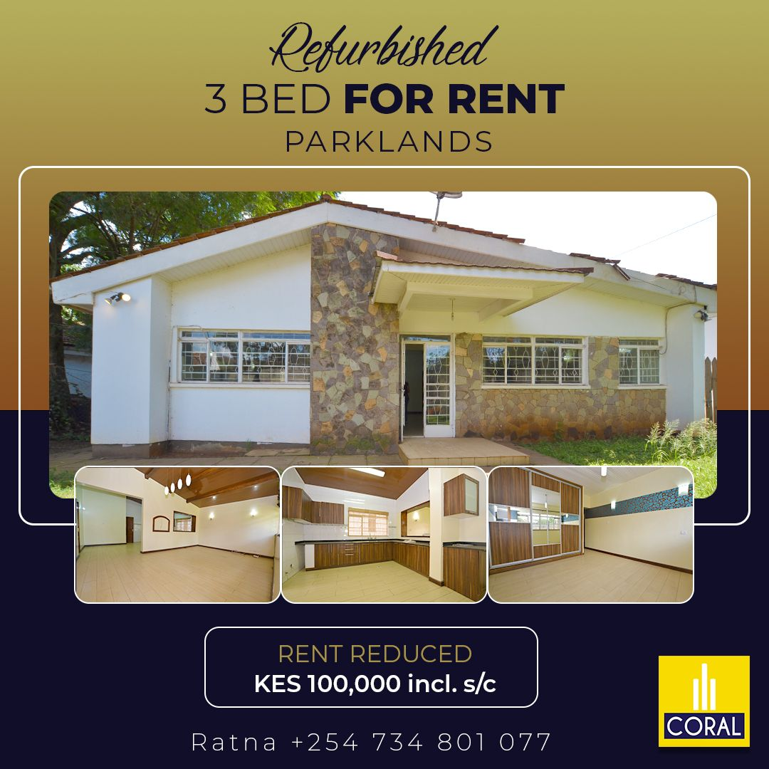 A Refurbished 3 Bedroom House For Rent Off Mtama Road Parklands In 2021 Renting A House 3 Bedroom House House