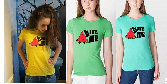 Bite Me Fitted Womans Shirt - Fine Jersey Short Sleeve Womens T (American Apparel 2102)