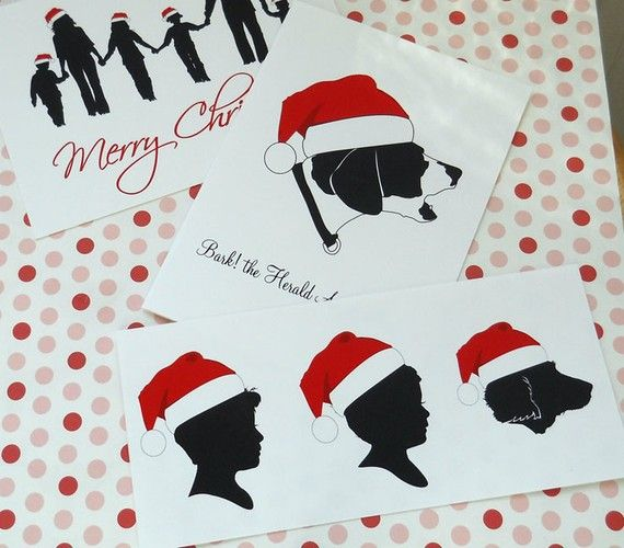 Personalized silhouette christmas cards- cute idea!