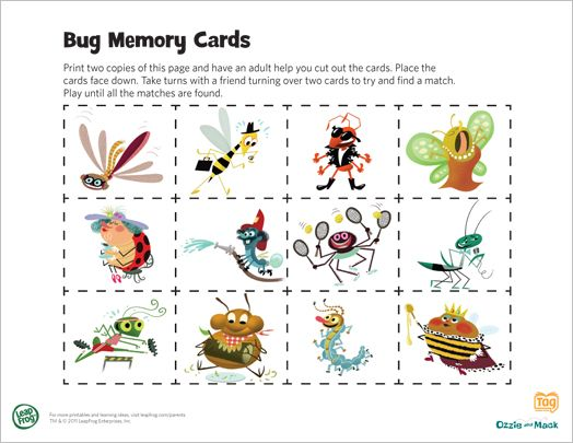 LeapFrog Printable Bug Memory Cards Playing Memory is a great