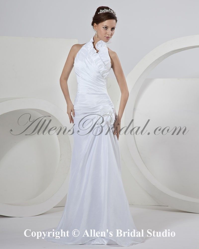 Taffeta Halter Neckline Sweep Train Sheath Wedding Dress With Ruffle On At Affordable Prices