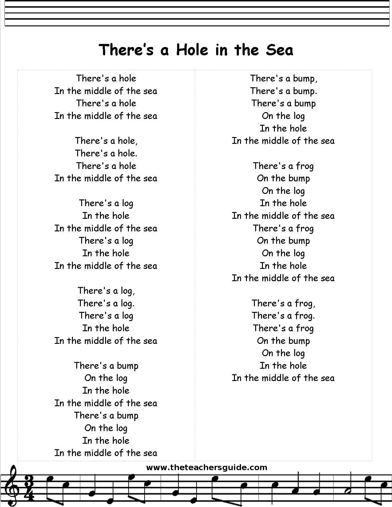 Hole In The Middle Of The Sea Lyrics Printout